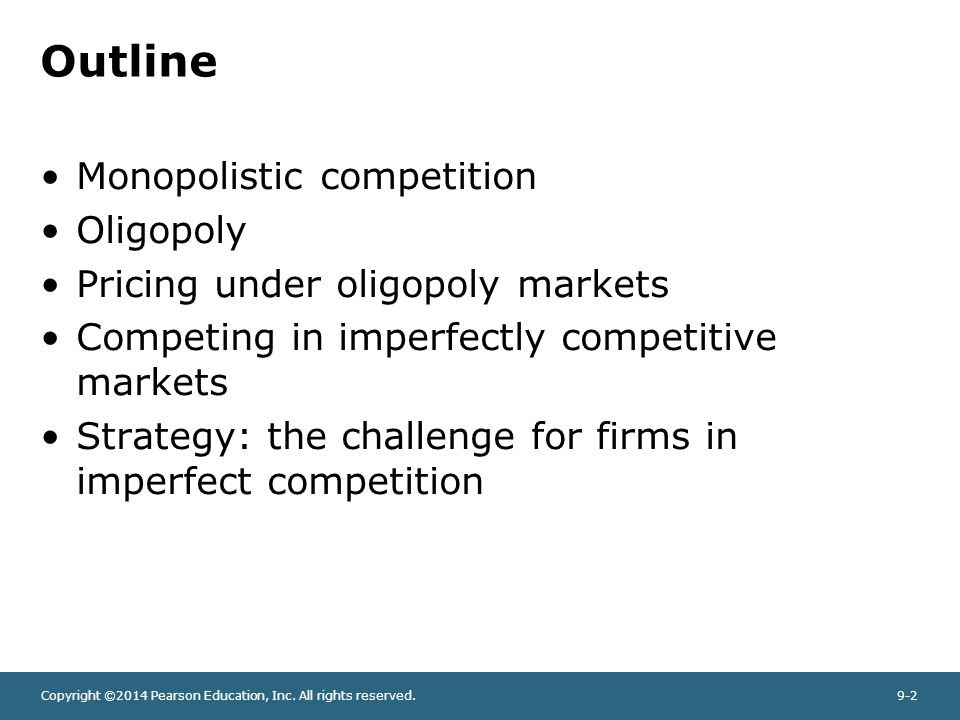 pricing under imperfect competition Under those circumstances, the firm may escape the perfect competition of the market and may become a price maker instead of a price taker usually firms accomplish this by generating some sort of product differentiation—even if that differentiation is trivial.