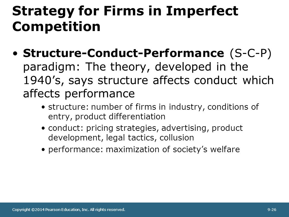 a critique of the structure conduct – conduct can affect market structureapproaches to studying industry the structure-conduct-performance (scp) paradigm: causal view market structure conduct performance the feedback critique – no one-way causal link.