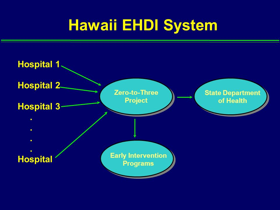 Hawaii EHDI System Hospital 1 Hospital 2 Hospital 3 . . . . Hospital