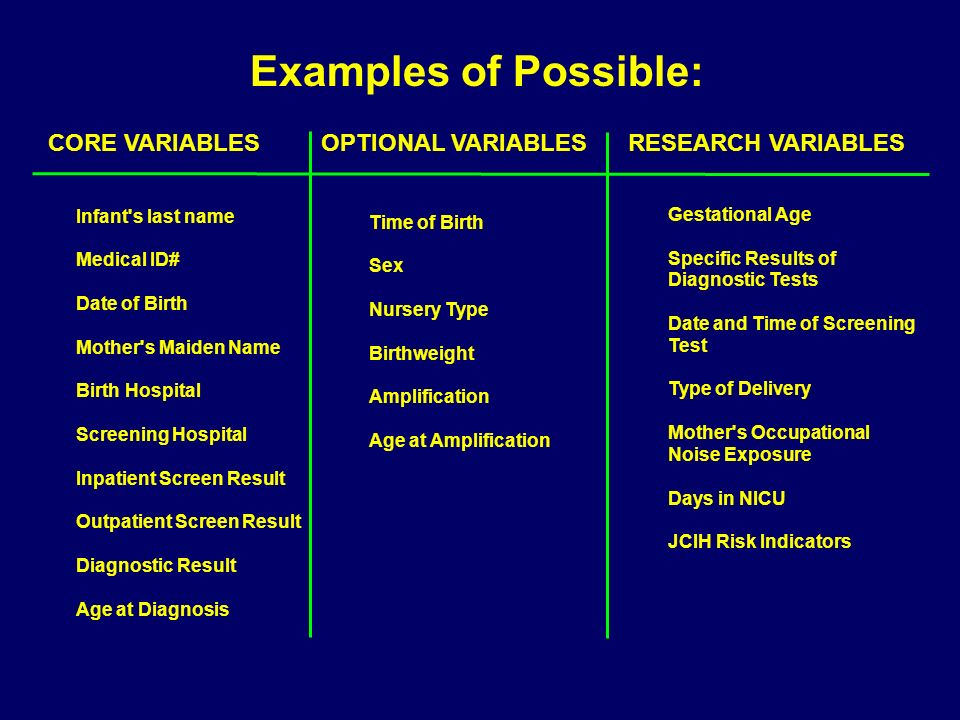 Examples of Possible:CORE VARIABLES OPTIONAL VARIABLES RESEARCH VARIABLES. Infant s last name.