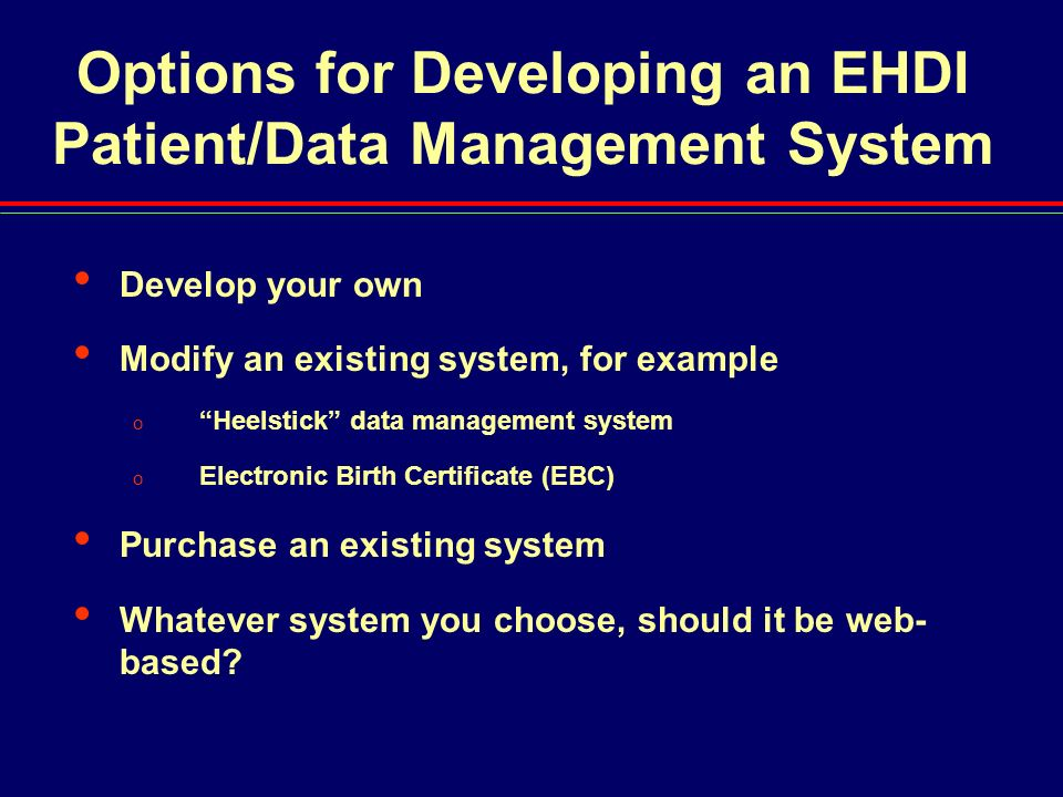 Options for Developing an EHDI Patient/Data Management System