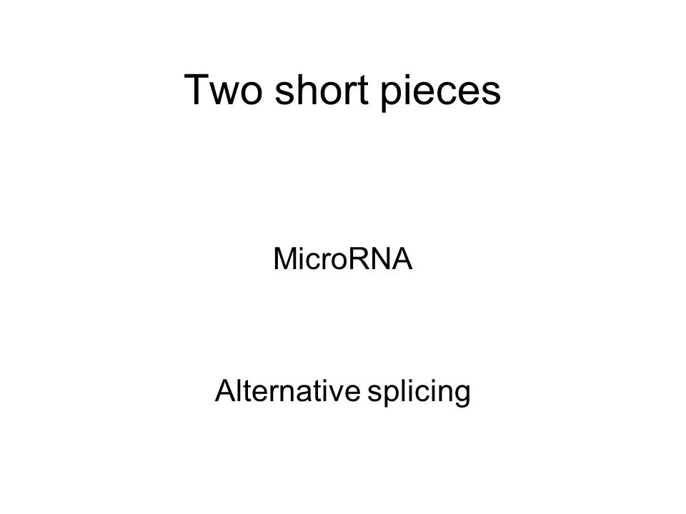 Two short pieces MicroRNA Alternative splicing