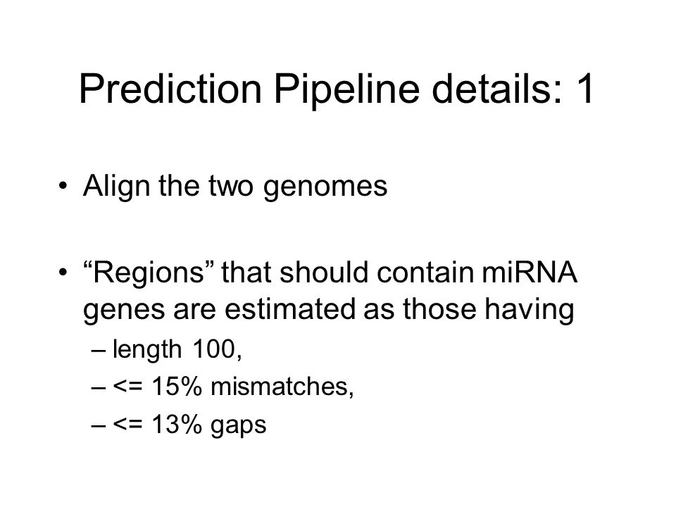 Prediction Pipeline details: 1