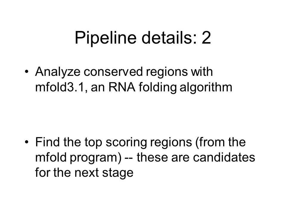 Pipeline details: 2 Analyze conserved regions with mfold3.1, an RNA folding algorithm.