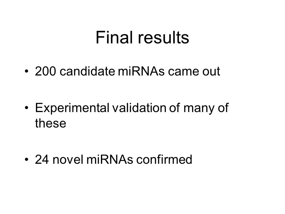 Final results 200 candidate miRNAs came out