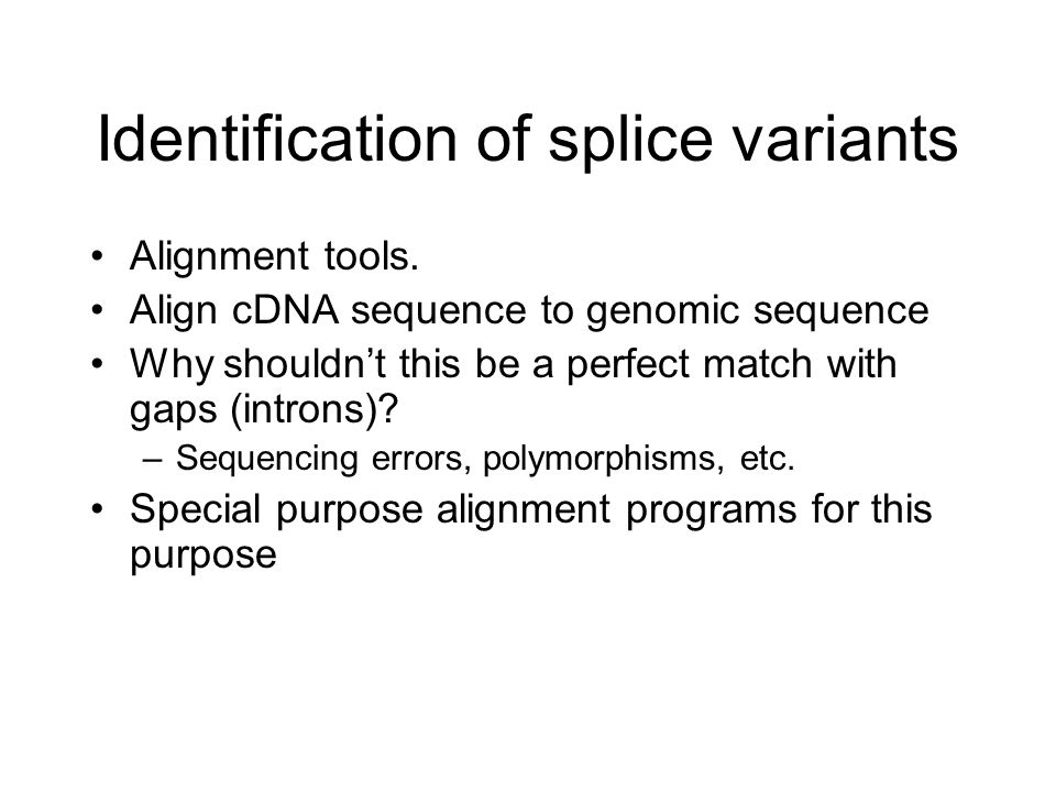 Identification of splice variants