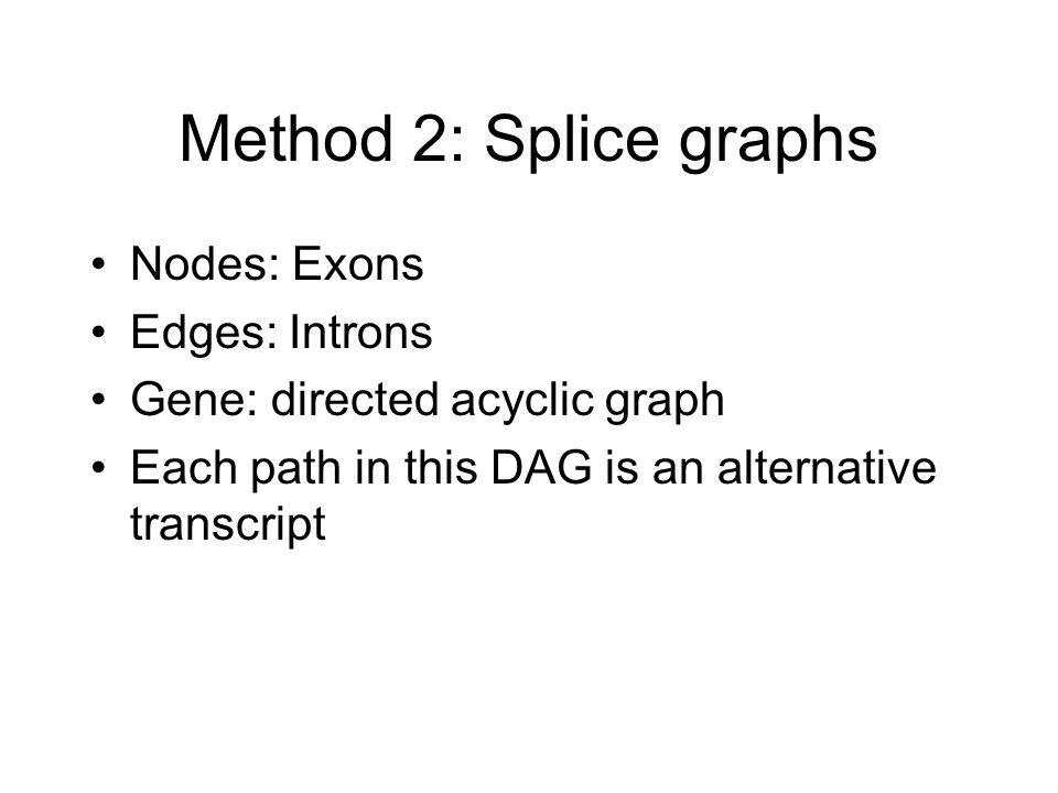 Method 2: Splice graphs Nodes: Exons Edges: Introns