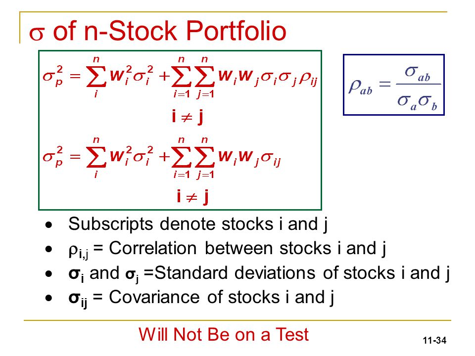 Diversification and risky asset allocation ppt video online download s of n stock portfolio subscripts denote stocks i and j ccuart Images