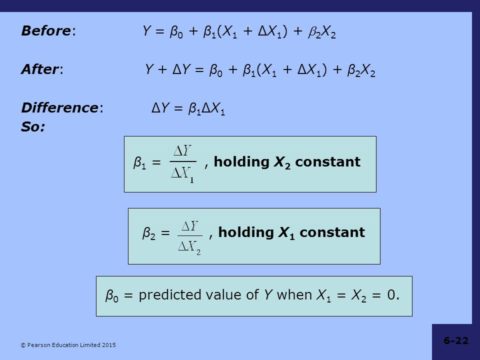 Before: Y = β0 + β1(X1 + ΔX1) + 2X2 After: Y + ΔY = β0 + β1(X1 + ΔX1) + β2X2 Difference: ΔY = β1ΔX1 So: β1 = , holding X2 constant β2 = , holding X1 constant β0 = predicted value of Y when X1 = X2 = 0.