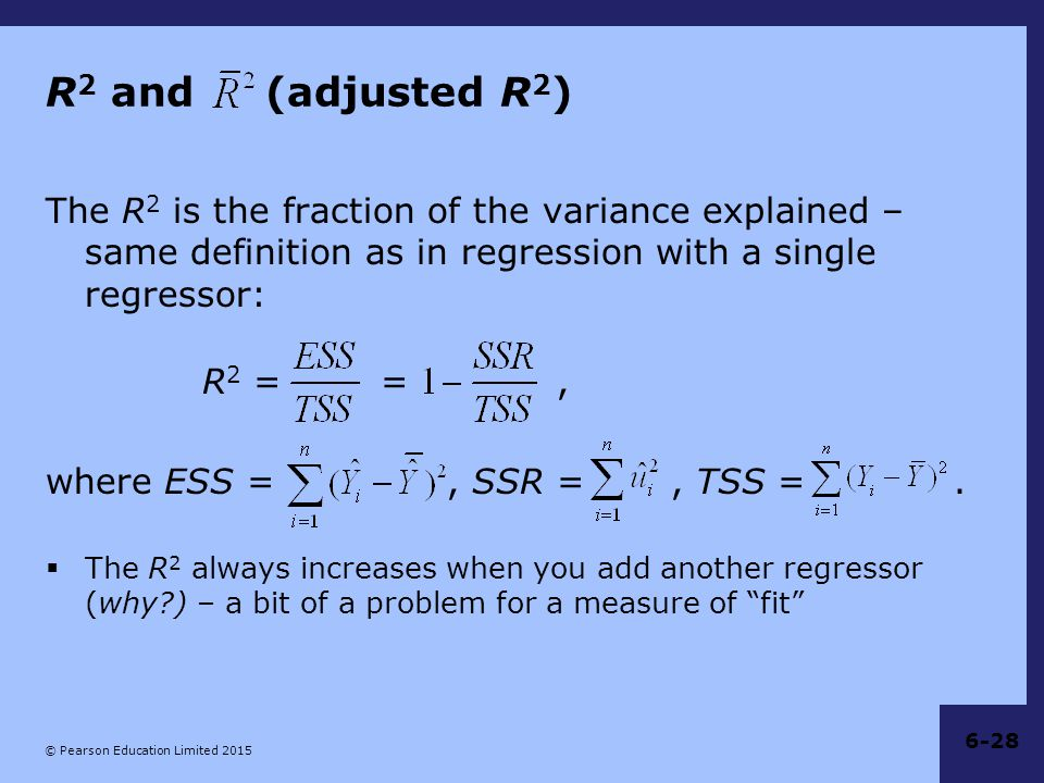 R2 and (adjusted R2) The R2 is the fraction of the variance explained – same definition as in regression with a single regressor: