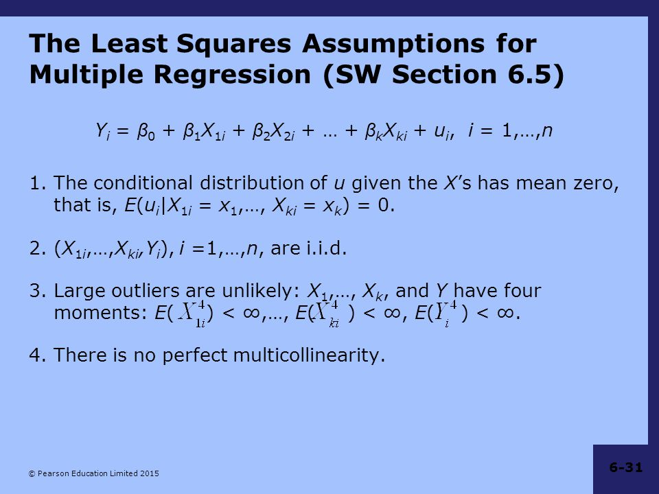 The Least Squares Assumptions for Multiple Regression (SW Section 6.5)