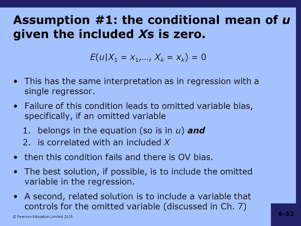 Assumption #1: the conditional mean of u given the included Xs is zero.