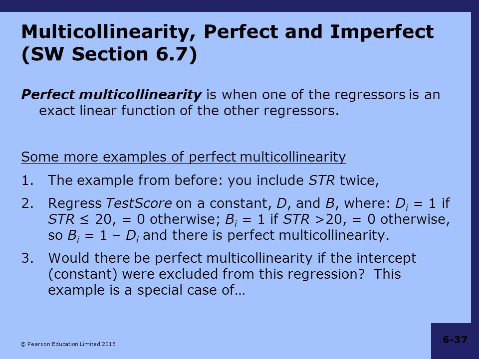 Multicollinearity, Perfect and Imperfect (SW Section 6.7)