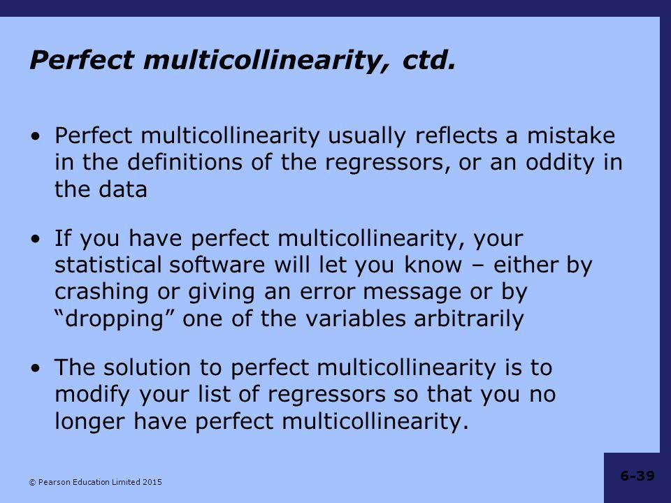 Perfect multicollinearity, ctd.