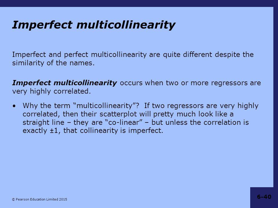 Imperfect multicollinearity