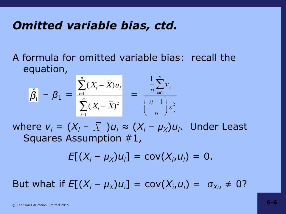Omitted variable bias, ctd.