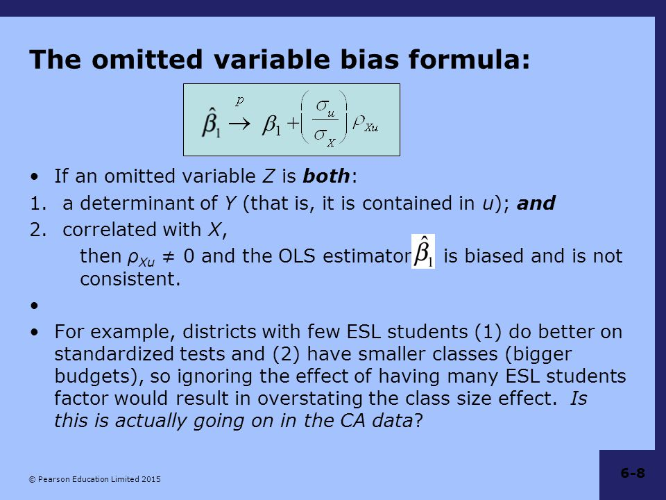 The omitted variable bias formula: