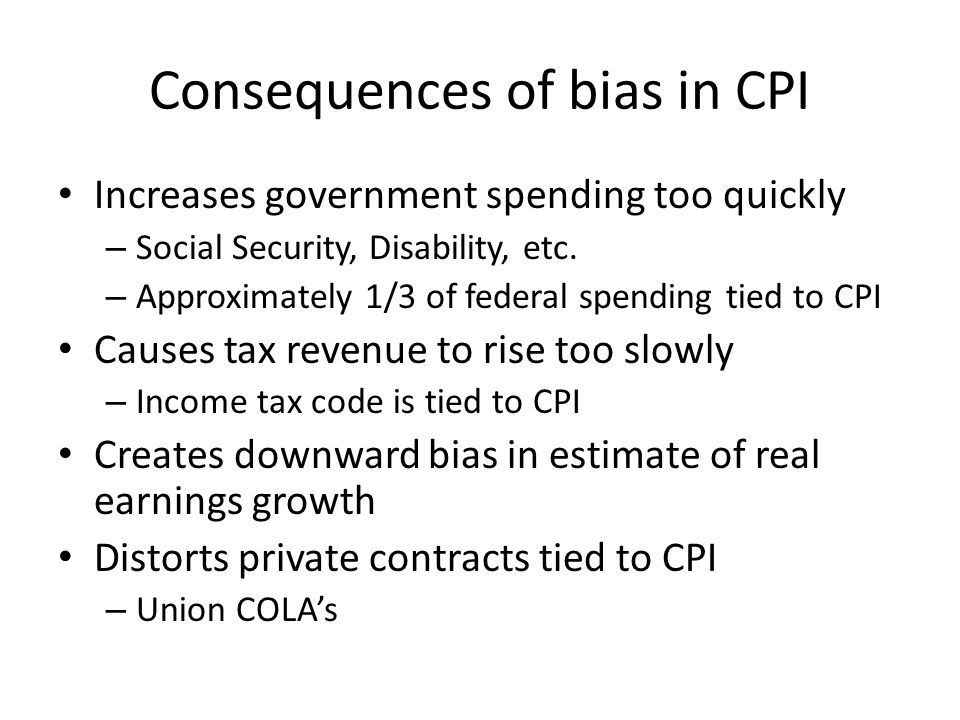 Consequences of bias in CPI