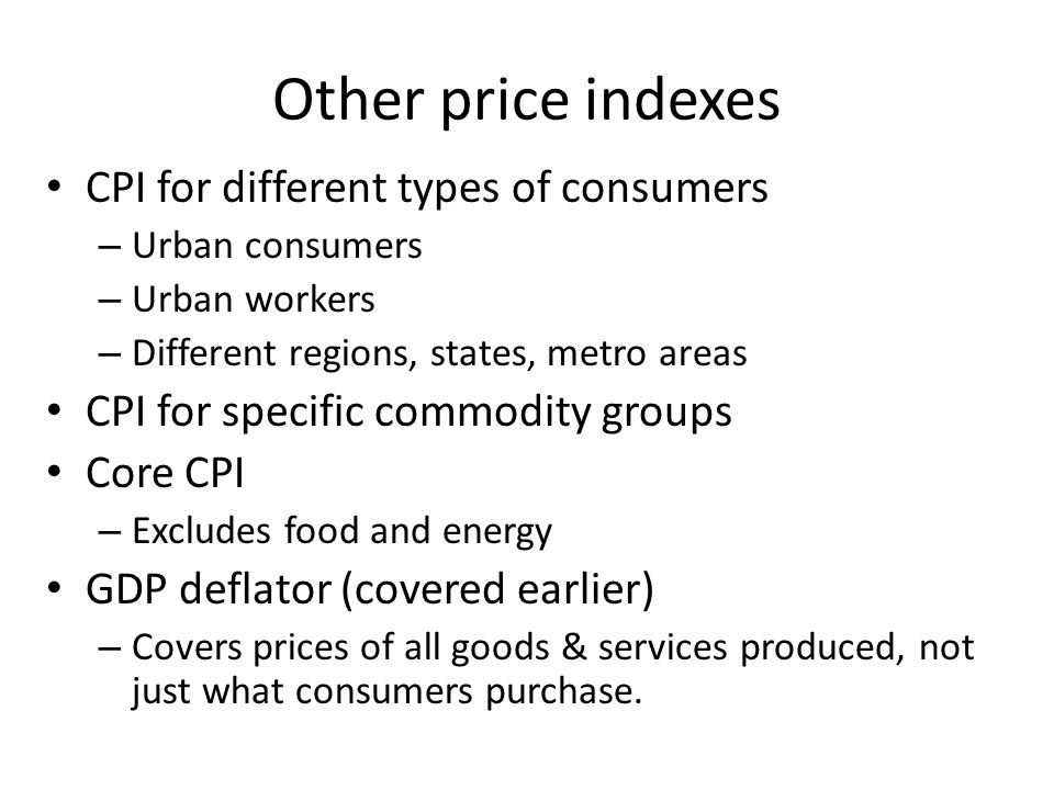 Other price indexes CPI for different types of consumers