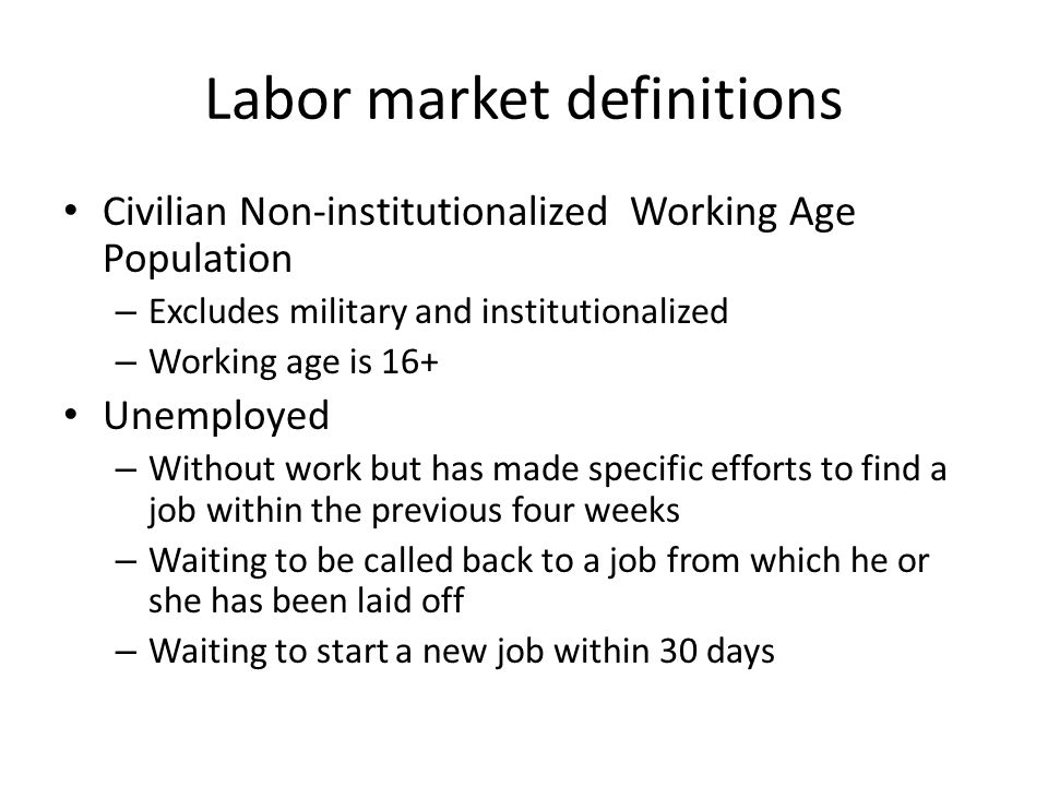Labor market definitions