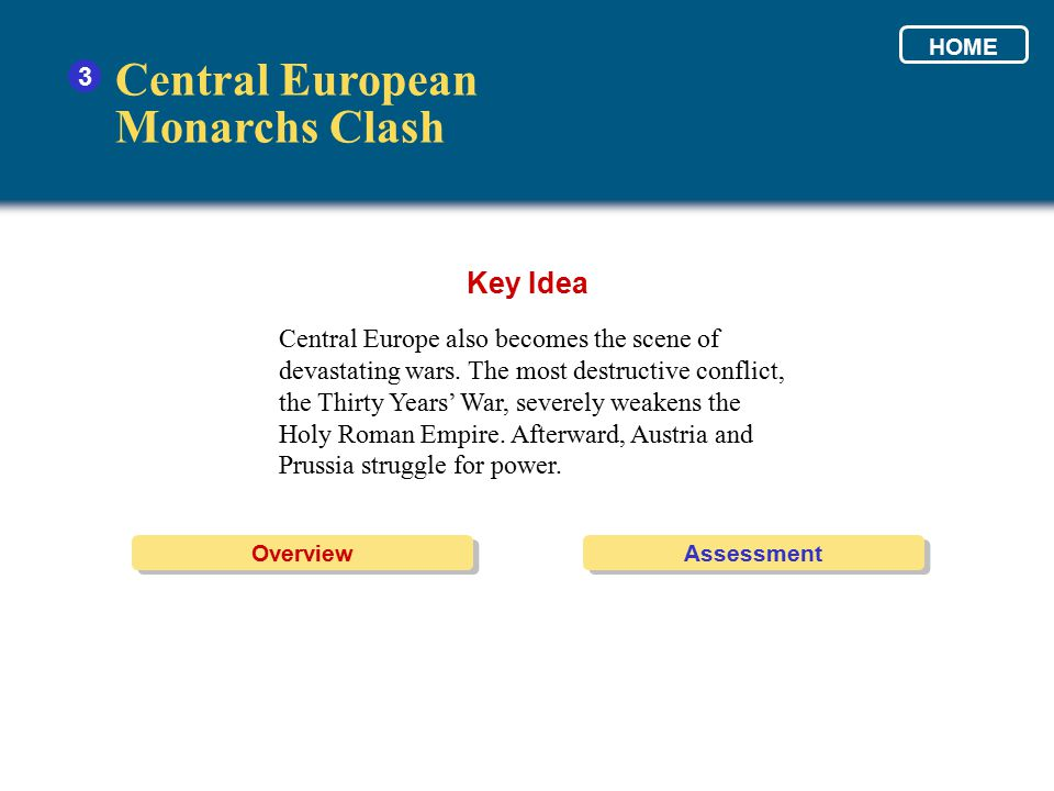 Central European Monarchs Clash Key Idea 3