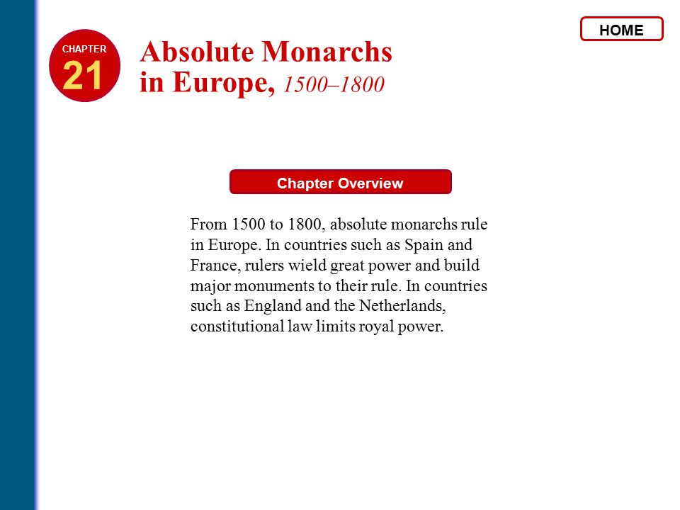 21 Absolute Monarchs in Europe, 1500–1800