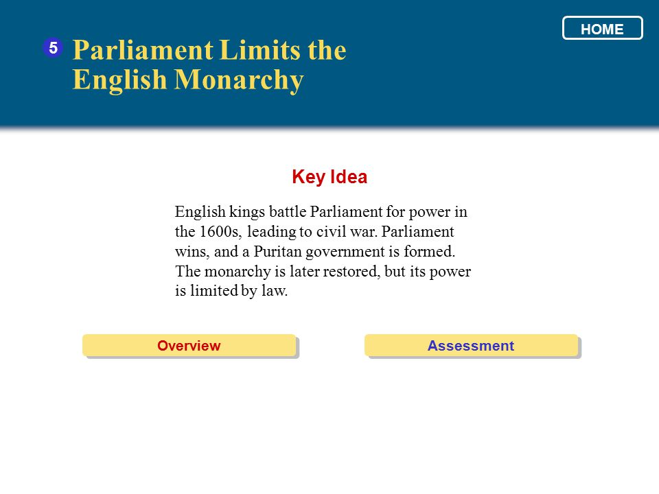 Parliament Limits the English Monarchy Key Idea 5