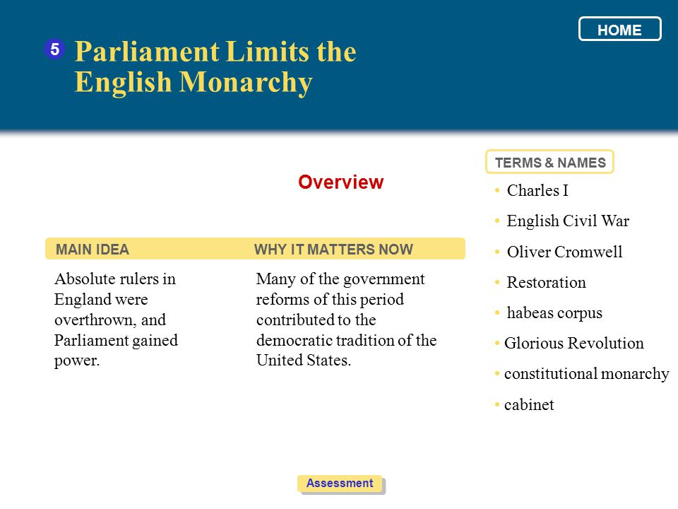 Parliament Limits the English Monarchy Overview 5 • Charles I