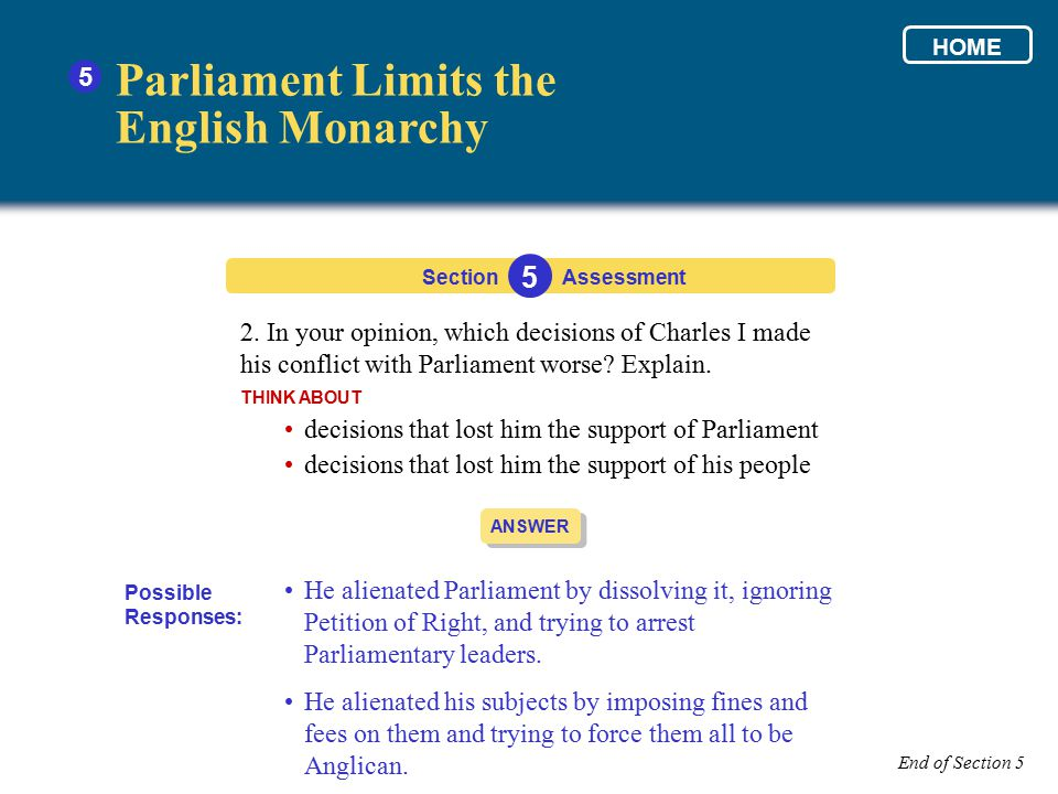 Parliament Limits the English Monarchy 5 5