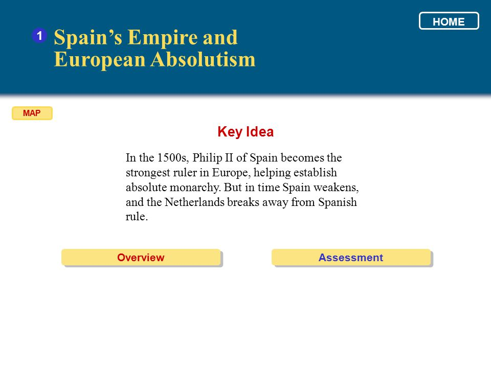 Spain's Empire and European Absolutism Key Idea 1