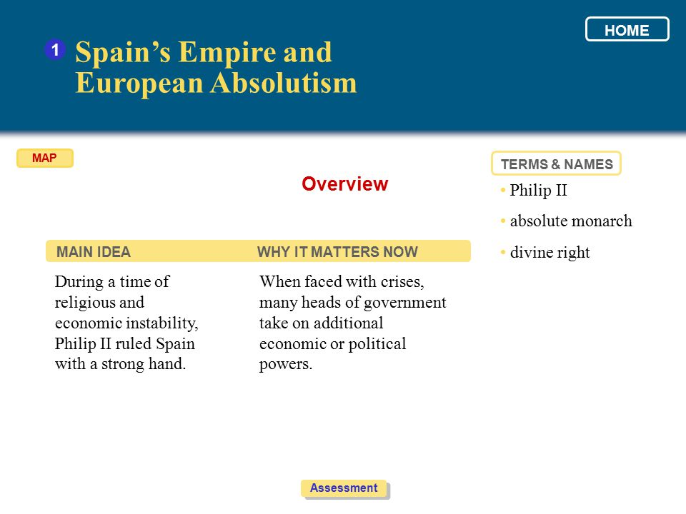 Spain's Empire and European Absolutism Overview 1 • Philip II