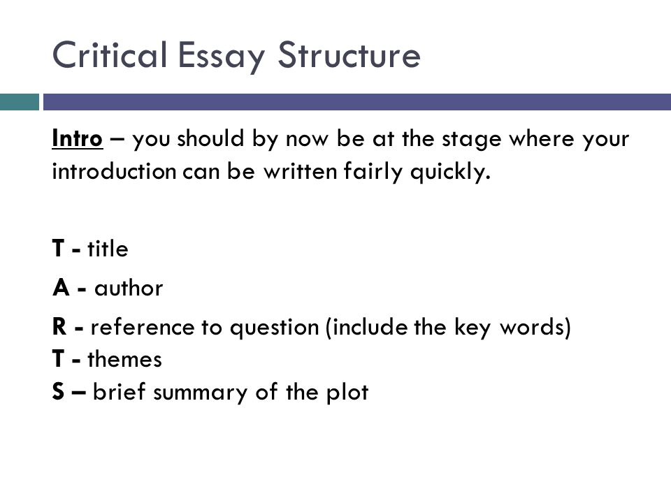 structure of critical essay 1 outline structure for literary analysis essay i catchy title ii paragraph 1: introduction (use hatmat) a hook b author c title d main characters.