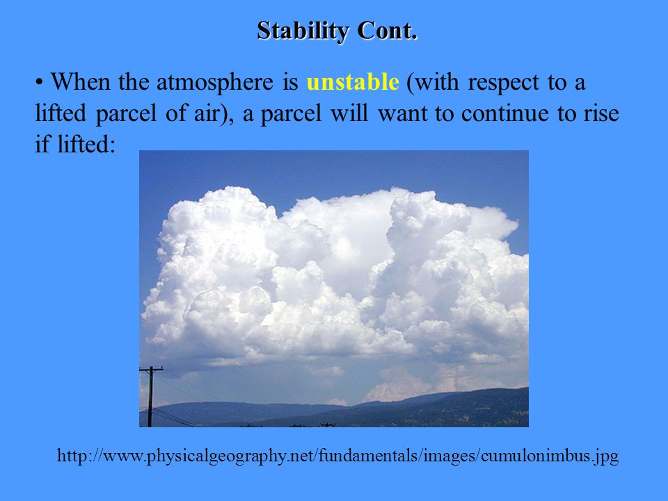 Stability Cont. When the atmosphere is unstable (with respect to a lifted parcel of air), a parcel will want to continue to rise if lifted: