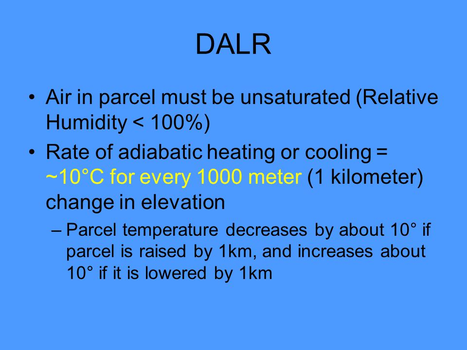 DALR Air in parcel must be unsaturated (Relative Humidity < 100%)