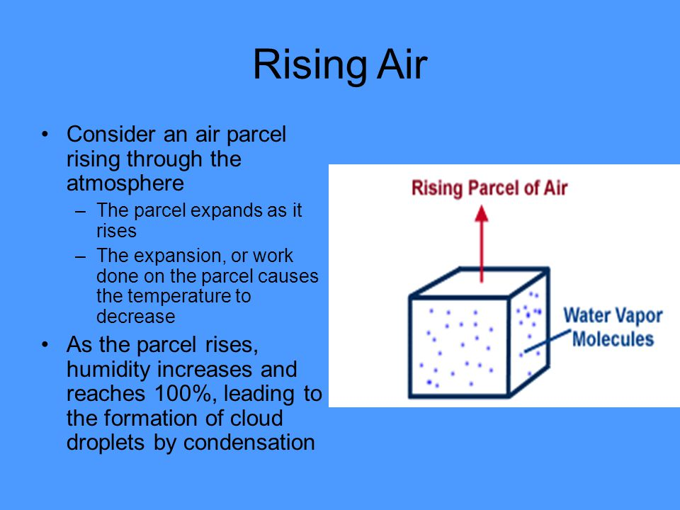 Rising Air Consider an air parcel rising through the atmosphere
