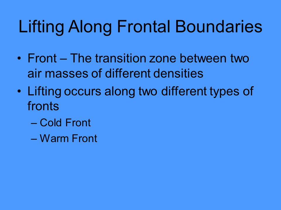Lifting Along Frontal Boundaries