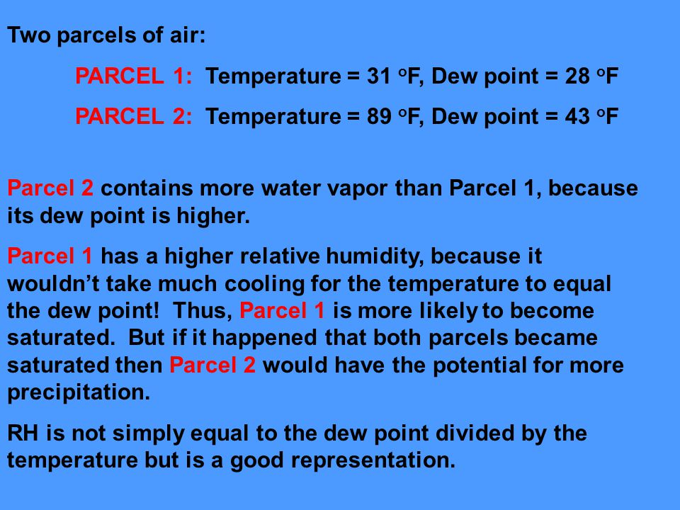 Two parcels of air: PARCEL 1: Temperature = 31 oF, Dew point = 28 oF. PARCEL 2: Temperature = 89 oF, Dew point = 43 oF.