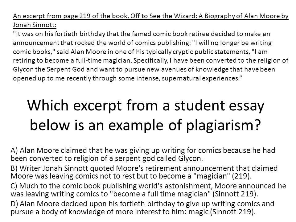 Which excerpt from a student essay below is an example of plagiarism