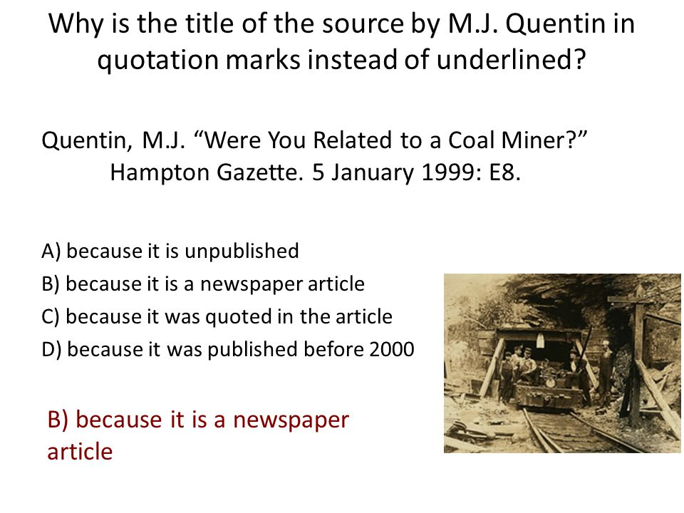 Why is the title of the source by M. J