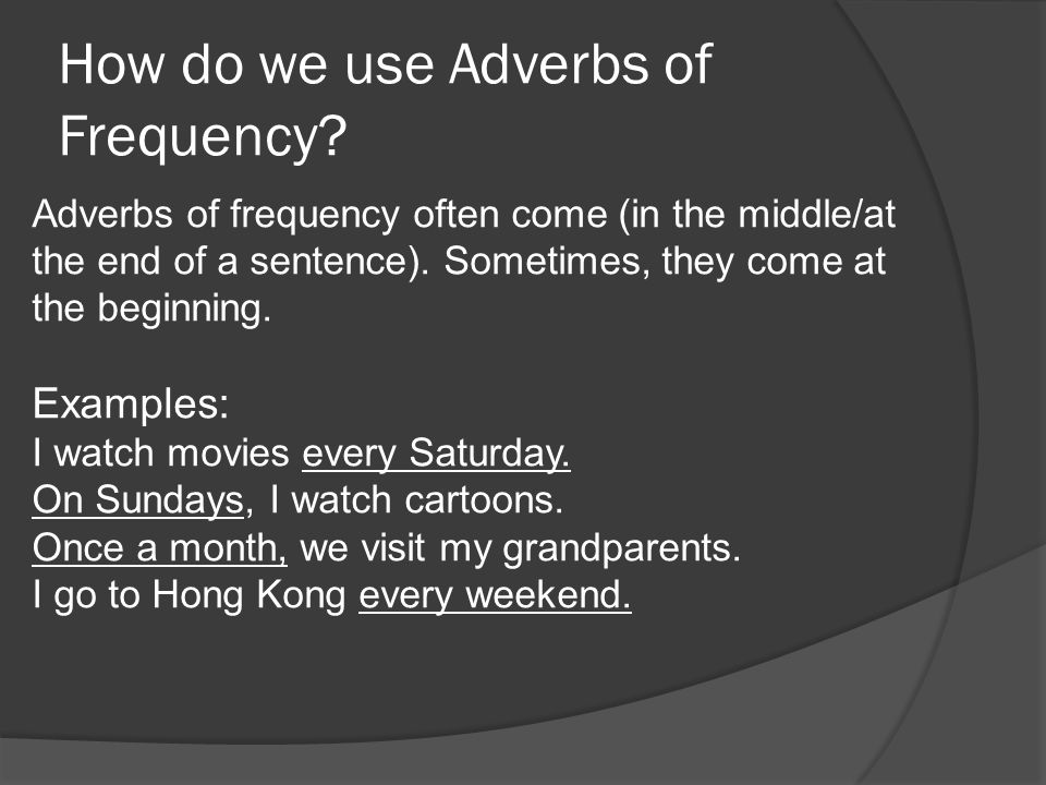 How do we use Adverbs of Frequency