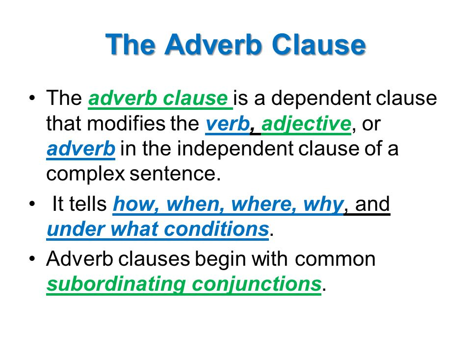adjective adverb and noun clauses ppt video online