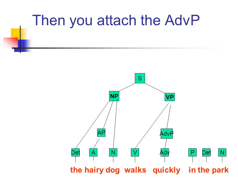 Then you attach the AdvP