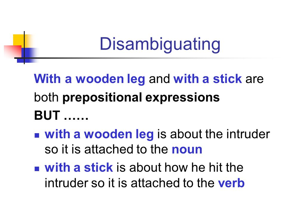 Disambiguating With a wooden leg and with a stick are