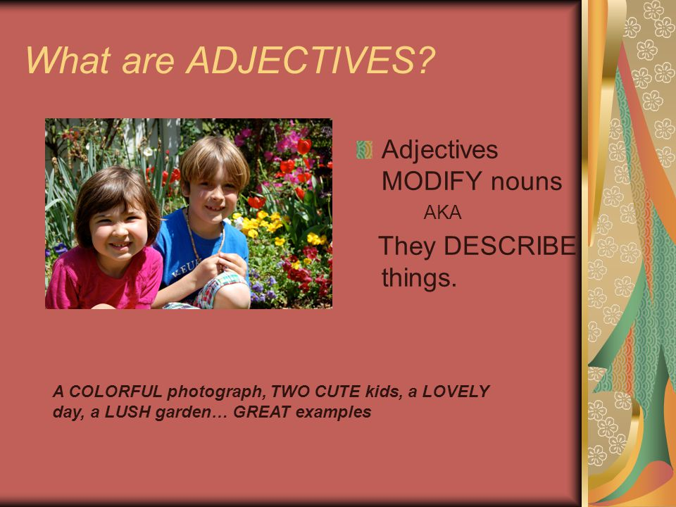 What are ADJECTIVES Adjectives MODIFY nouns They DESCRIBE things. AKA