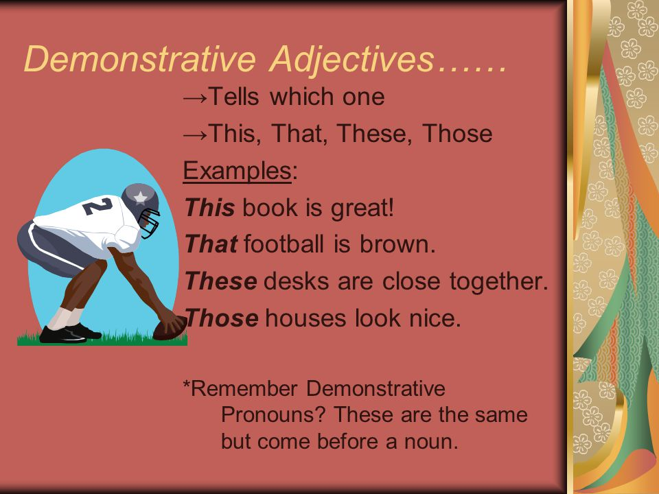 Demonstrative Adjectives……