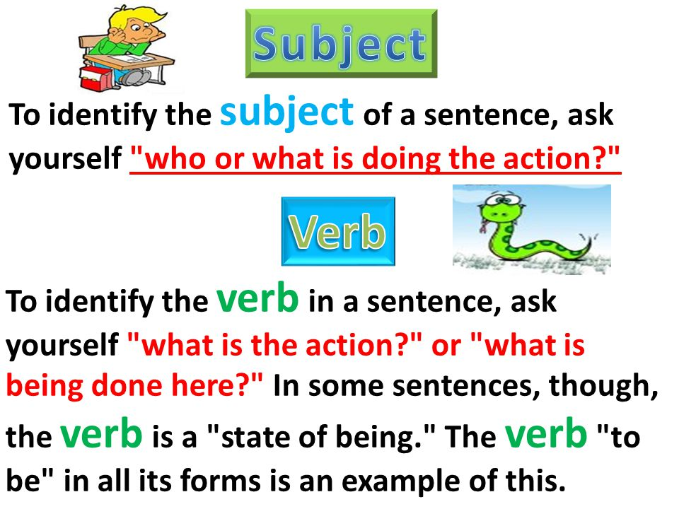whats a subject in a sentence Sentence = subject + predicate the subject and predicate are often  described as a topic and a comment, what is being talked about (the subject) and .