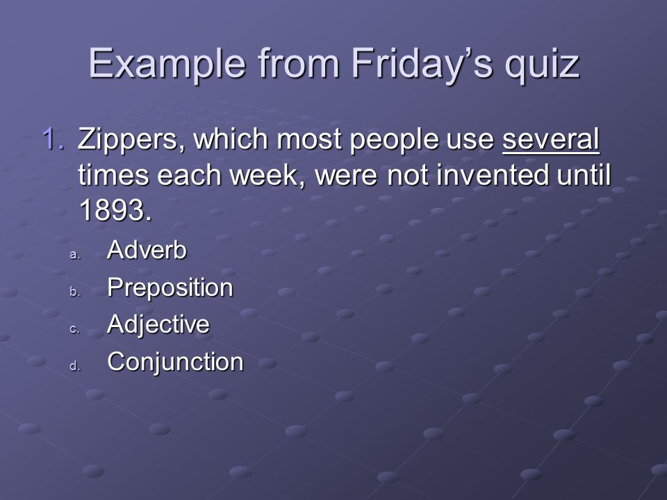 Example from Friday's quiz