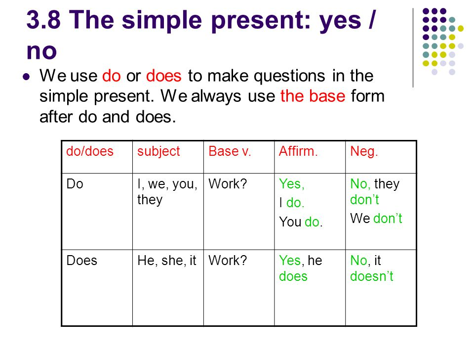 3.8 The simple present: yes / no