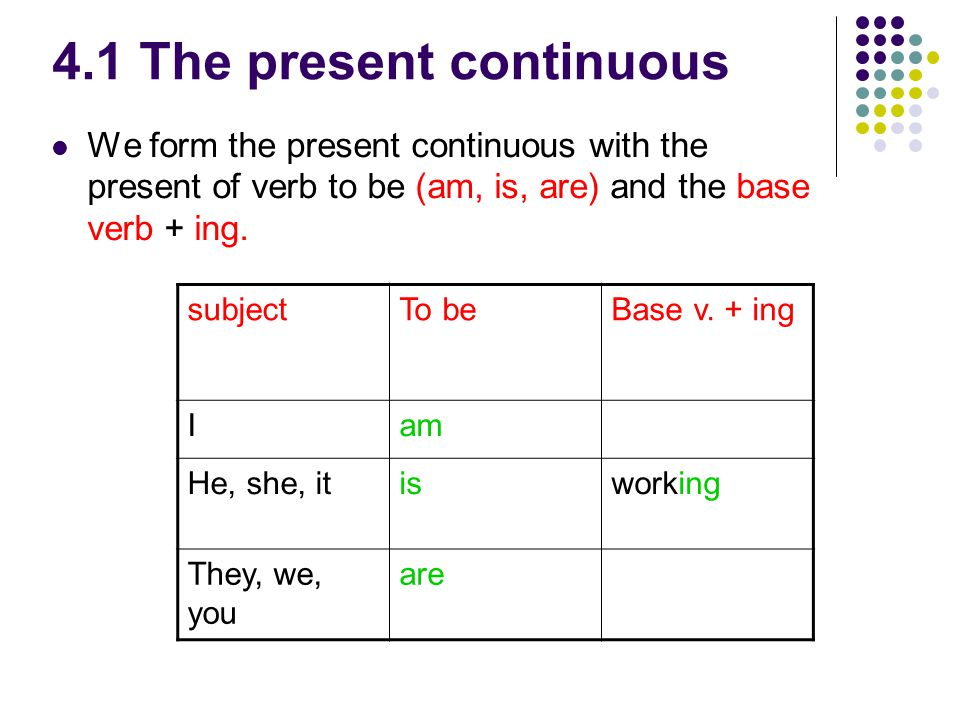4.1 The present continuous