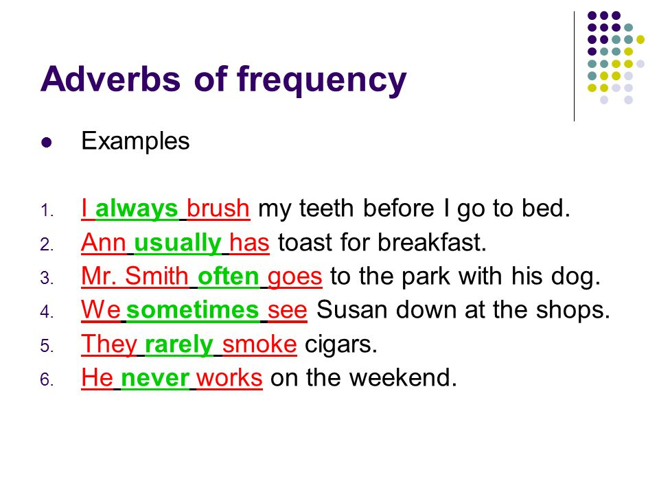 Adverbs of frequency Examples